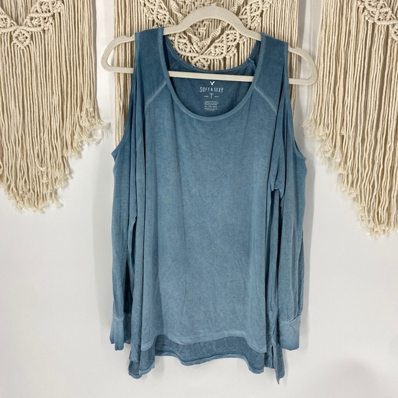 AEO Soft & Sexy Cold Shoulder Long Sleeve Top